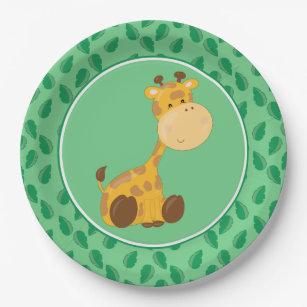 Safari Animals | Baby Giraffe Paper Plate  sc 1 st  Zazzle & Jungle Leaf Plates | Zazzle