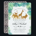 "Safari Animals Baby Shower Invitation<br><div class=""desc"">Gold foiled jungle safari animals - Elephant,  lion,  giraffe &amp; monkey - framed by watercolor tropical green leaves,   
