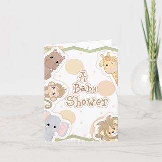 Safari Animals Baby Shower Invitation card