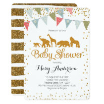 Safari Animals Baby Shower Invitation Gold Glitter