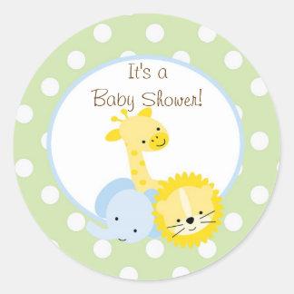 safari animals baby shower  sticker cute fun