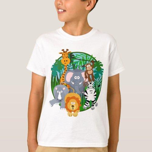 Safari Animals Cartoon T_Shirt