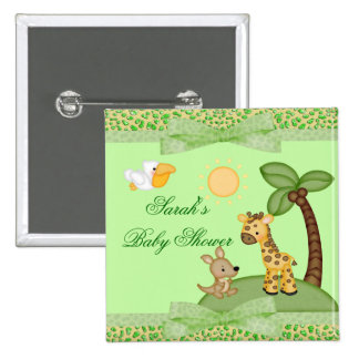 Safari Animals Cheetah Print Baby Shower 2 Inch Square Button
