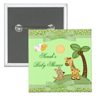 Safari Animals Cheetah Print Baby Shower Buttons