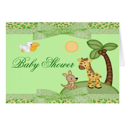 safari animals cheetah print baby shower stationery note card zazzle