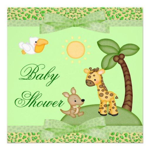 Safari Animals Cheetah Print Baby Shower Announcements