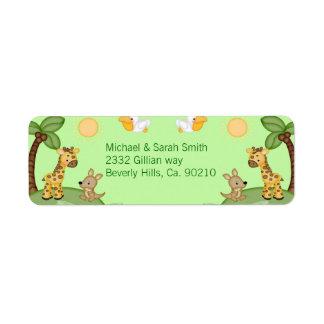 Safari Animals Cheetah Print Baby Shower Custom Return Address Labels