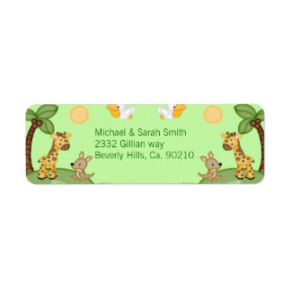 Safari Animals Cheetah Print Baby Shower Label