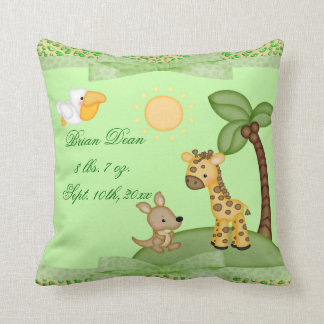 Safari Animals Cheetah Print Baby Shower Pillow
