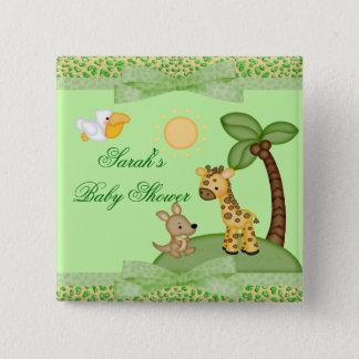 Safari Animals Cheetah Print Baby Shower Pinback Button
