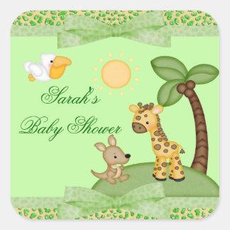 Safari Animals Cheetah Print Baby Shower Square Sticker