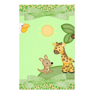 Safari Animals Cheetah Print Baby Shower Stationery