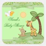 Safari Animals Cheetah Print Baby Shower Sticker