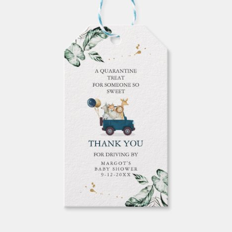 Safari Animals Drive By Baby Shower Greenery Gold Gift Tags