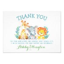 Safari Animals Flat Thank You Card