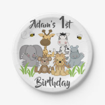 Safari Animals Kids Birthday Baby Shower Party Paper Plate