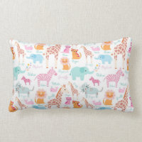 Safari Animals Nursery Print Lumbar Pillow
