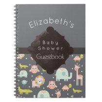 Safari Animals Pattern Baby Shower Guestbook Notebook