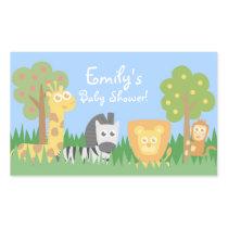 Safari Animals Theme Baby Shower Decorations Rectangular Sticker