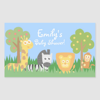 Safari Animals Theme Baby Shower Decorations Rectangular Sticker