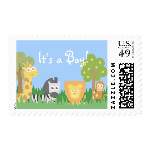 Safari Animals Theme Baby Shower - It's a Boy! Stamp