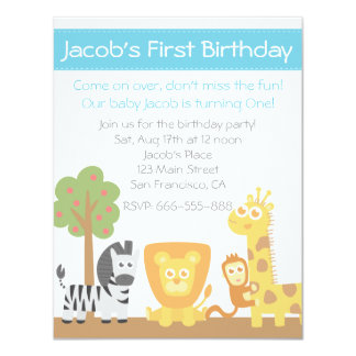 Safari Animals theme first birthday party 4.25x5.5 Paper Invitation Card