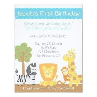 Safari Animals theme first birthday party Card