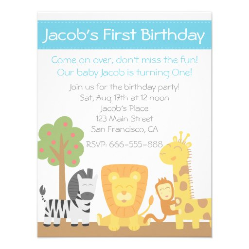"Safari Animals Theme First Birthday Party 4.25"" X 5.5"