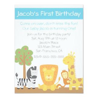 Safari Animals theme first birthday party Custom Announcements