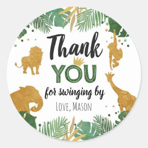 Safari Animals Wild One Jungle Gold Thank You Boy Classic Round Sticker