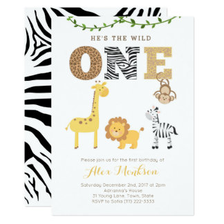 Safari animals zoo First Birthday Party Card