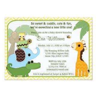 "Safari Babies Baby Shower invitation Animals 5"" X 7"" Invitation Card"