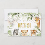 Safari baby animals and greenery thank you card