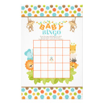 Safari Baby Bingo Game with Animals Stationery