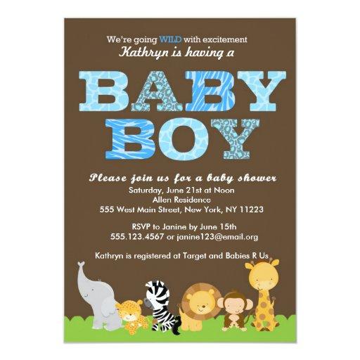 Safari Baby Boy Shower Invitation | Zazzle