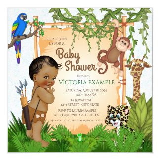 Safari Baby Boy Shower Invitations