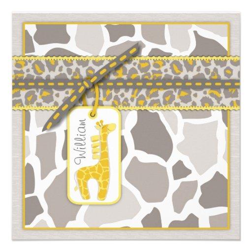 Safari Baby Invitation Square B