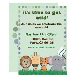 Safari baby party invitation