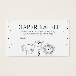 Safari Baby Shower Diaper Raffle Card Jungle Zoo