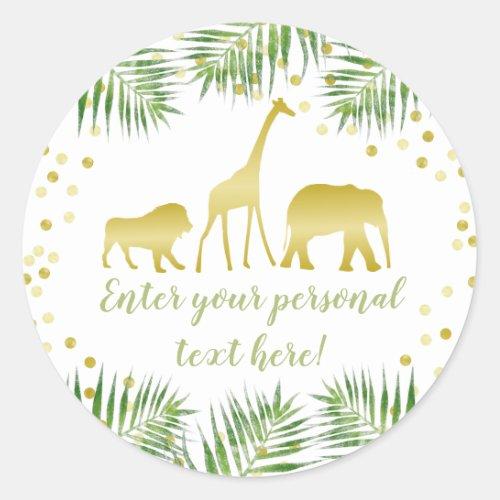 Safari Baby Shower Gold Classic Round Sticker