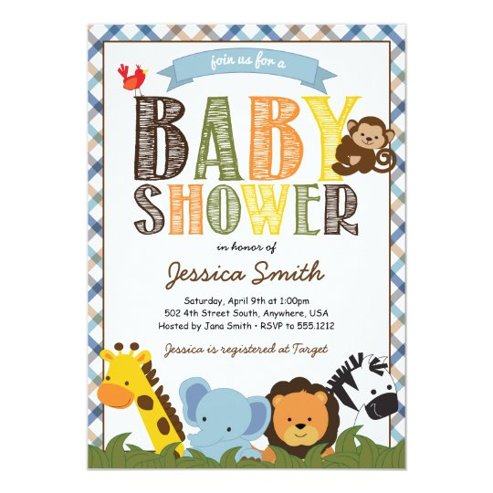 Safari Baby Shower Invitation Zazzlecom