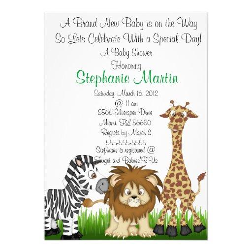 safari baby shower invitation 5 x 7 invitation card zazzle