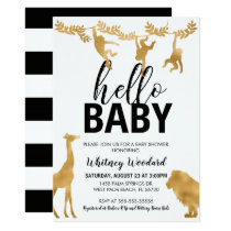 Safari Baby Shower Invitation   Black & Gold