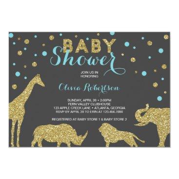 DeReimerDeSign Safari Baby Shower Invitation, Faux Gold, Aqua Card