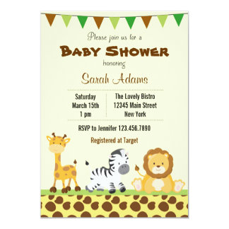 safari baby shower invitation jungle animal
