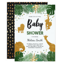 Safari Baby shower invite Zoo Wild Jungle animals