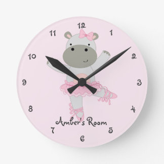 Safari Ballerina Girl's Bedroom Round Clock