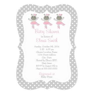 Safari Ballerina Gray Polka Dot Baby Shower Card