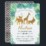 """Safari Birthday Invitation<br><div class=""""desc"""">Modern safari design for the glam safari party.  Decked with gold foiled jungle animals - elephants,  lion,  giraffe and monkey - framed with an arch of green tropical watercolor foliage leaves.  Perfect for your wild one!</div>"""