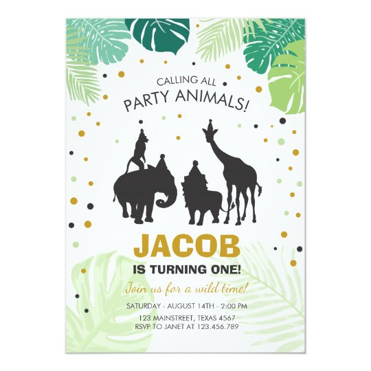 Safari Birthday Invitation Zoo Wild Jungle animals Zazzlecom